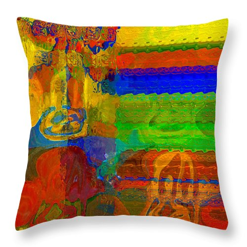 Yellow Throw Pillow featuring the digital art Magical Multi by Ruth Palmer