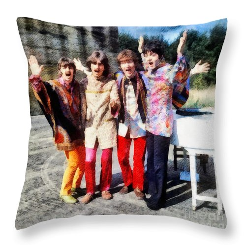 Hollywood Throw Pillow featuring the painting Magical Mystery Tour, The Beatles by Esoterica Art Agency