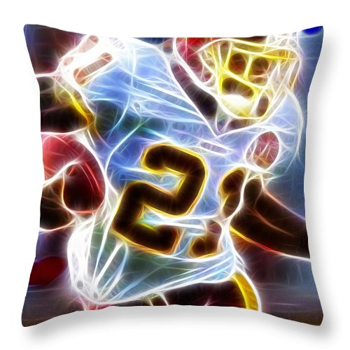Sean Taylor Throw Pillow featuring the painting Magical Sean Taylor by Paul Van Scott