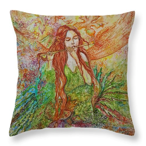 Song Throw Pillow featuring the painting Magical Song Of Autumn by Rita Fetisov