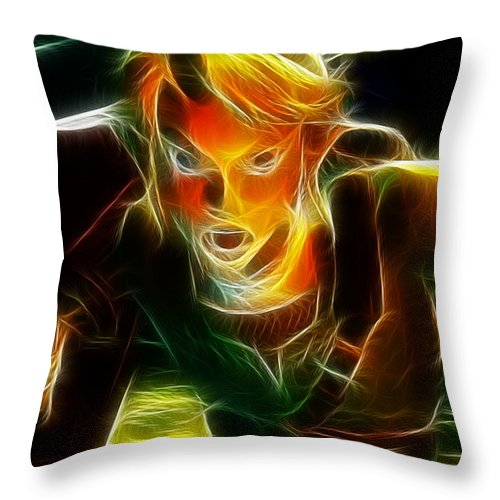 Video Game Throw Pillow featuring the painting Magical Zelda Link by Paul Van Scott
