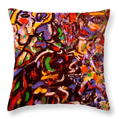 Abstract Throw Pillow featuring the painting Magician by Natalie Holland