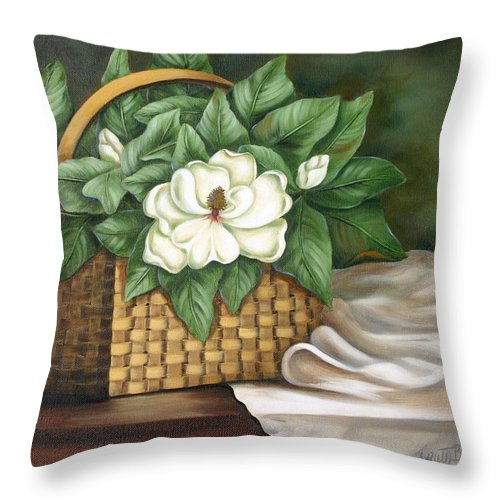 Flower Throw Pillow featuring the painting Magnolia Basket by Ruth Bares