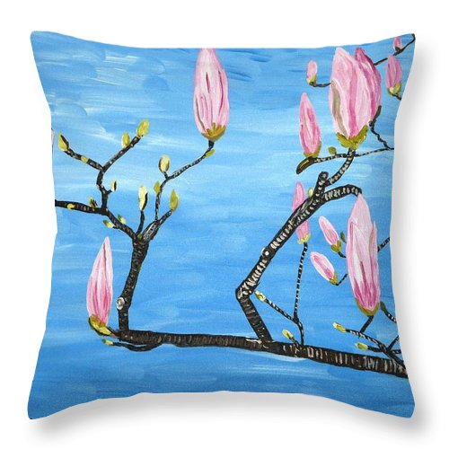 Magnolia Throw Pillow featuring the painting Magnolia Blossom by Valerie Ornstein