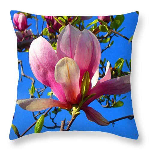 Magnolia Throw Pillow featuring the painting Magnolia Flower by Amy Vangsgard