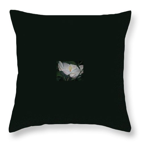 Oils Throw Pillow featuring the painting Magnolia Flower Oil Painting by Derek Mccrea