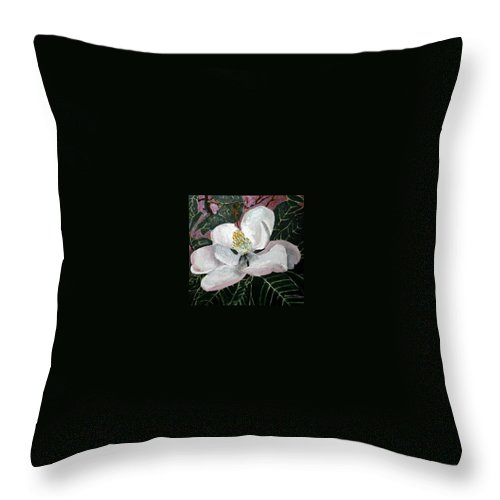 Acrylic Throw Pillow featuring the painting Magnolia Flower Painting by Derek Mccrea