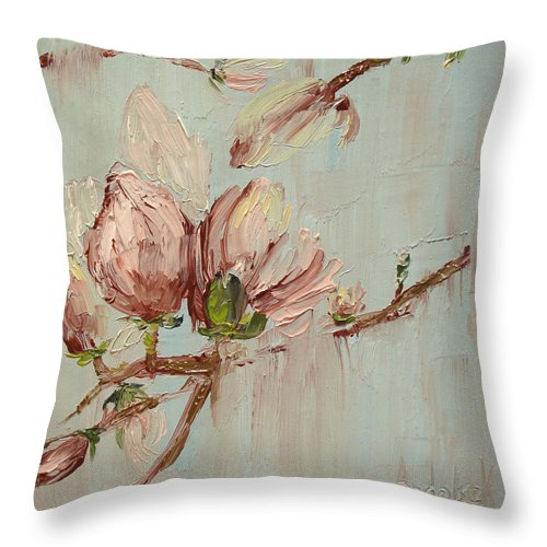 Floral Throw Pillow featuring the painting Magnolia I by Barbara Andolsek