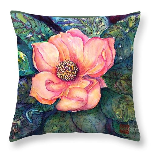 Flowers Throw Pillow featuring the painting Magnolia In The Evening by Norma Boeckler