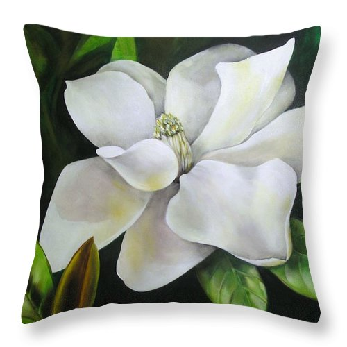 Flower Throw Pillow featuring the painting Magnolia Oil Painting by Chris Hobel
