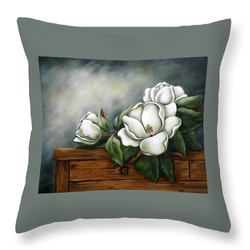 Floral Throw Pillow featuring the painting Magnolia On A Chest by Ruth Bares