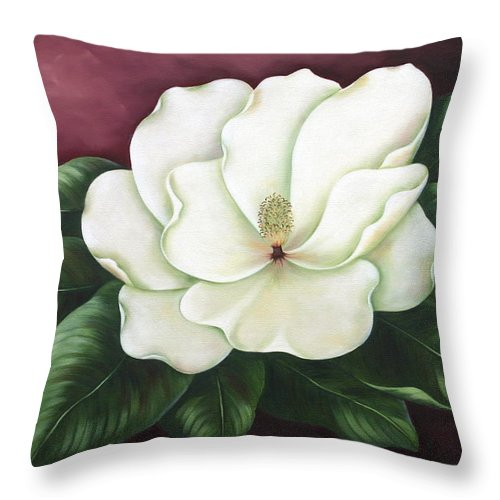 Flower Throw Pillow featuring the painting Magnolia by Ruth Bares