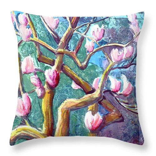 Magnolia Throw Pillow featuring the painting Magnolia by Saga Sabin