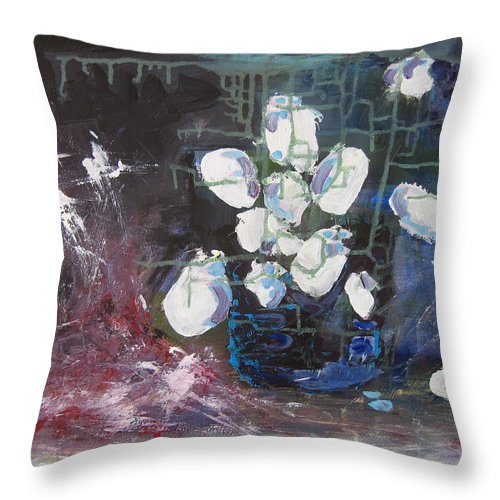Abstract Paintings Throw Pillow featuring the painting Magnolia by Seon-Jeong Kim
