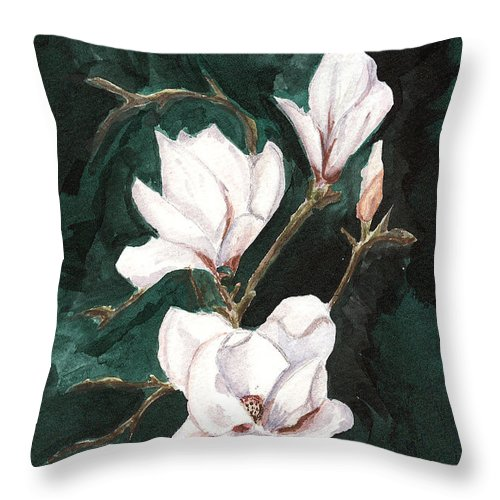 Magnolia Soulangeana Throw Pillow featuring the painting Magnolia Soulangeana by Arlene Wright-Correll