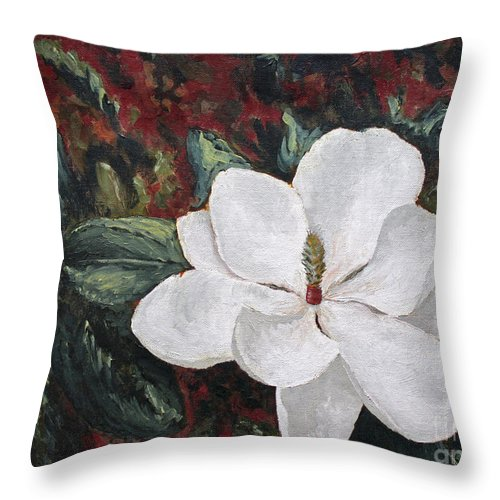 Flower Throw Pillow featuring the painting Magnolia by Todd Blanchard