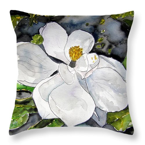 Magnolia Throw Pillow featuring the painting Magnolia Tree Flower by Derek Mccrea