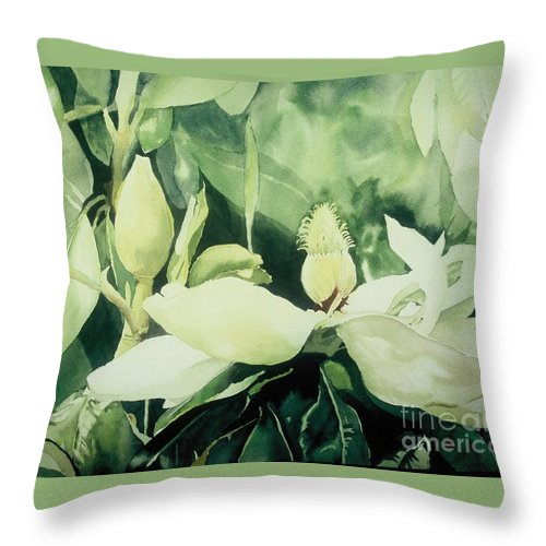 Magnolias Throw Pillow featuring the painting Magnolium Opus by Elizabeth Carr
