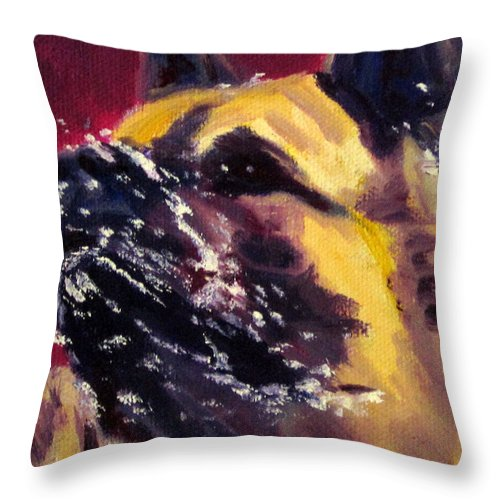Dog Akita Working Snow Animal Pet Water  Throw Pillow featuring the painting Magnum It's A Snow Day by Terry Chacon