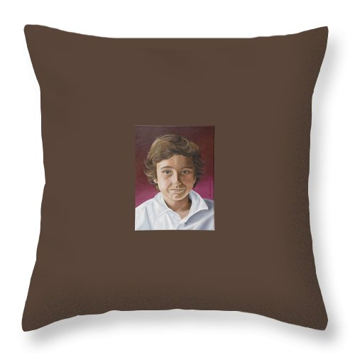 Portrait Throw Pillow featuring the painting Magnus by Rob De Vries