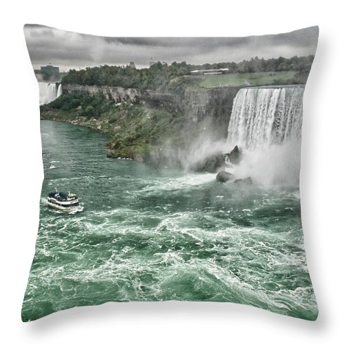 Maid Of The Mist Throw Pillow featuring the photograph Maid Of The Mist 8971 by Guy Whiteley