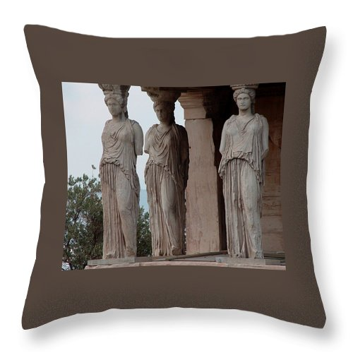 Athens Greece Throw Pillow featuring the photograph Maidens Of The Porch by Nancy Bradley