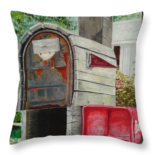 Mailbox Throw Pillow featuring the painting Mailbox by John Schuller