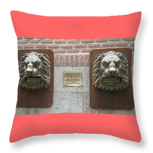 Mailbox Throw Pillow featuring the photograph Mailboxes In Toledo Spain by Valerie Ornstein