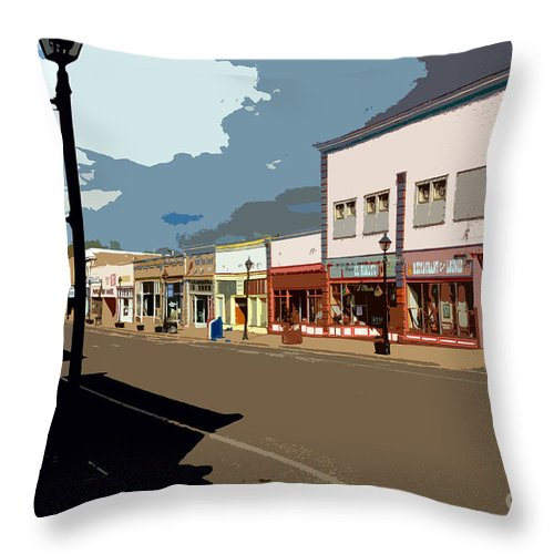 Main Street Throw Pillow featuring the painting Main Street by David Lee Thompson