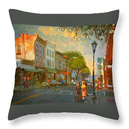 Main Street Throw Pillow featuring the painting Main Street Nyack Ny by Ylli Haruni