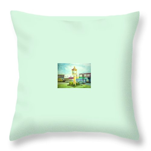 Clock Throw Pillow featuring the painting Main Street by Sheila Mashaw