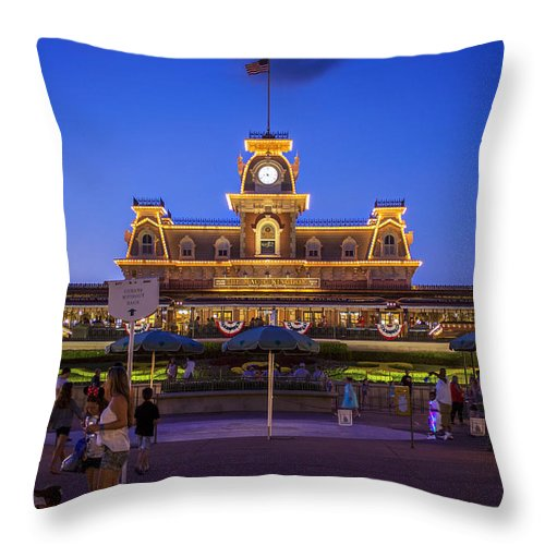Disney Throw Pillow featuring the photograph Main Street Station At Night by Steve Burns
