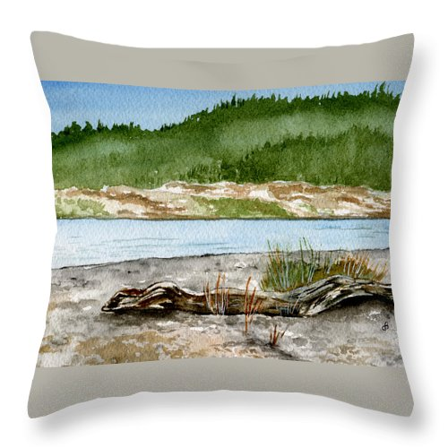 Landscape Throw Pillow featuring the painting Maine Beach Wood by Brenda Owen