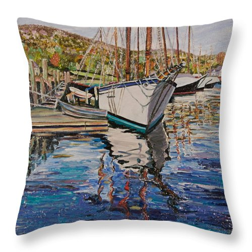 Maine Throw Pillow featuring the painting Maine Coast Boat Reflections by Richard Nowak