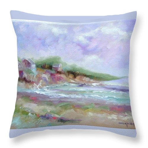 Maine Coastline Throw Pillow featuring the painting Maine Coastline by Ginger Concepcion