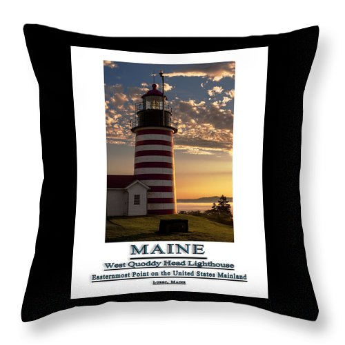 West Quoddy Head Lighthouse Throw Pillow featuring the photograph Maine Good Morning West Quoddy Head Lighthouse by Marty Saccone