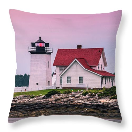 Maine Throw Pillow featuring the photograph Maine Hendricks Head Lighthouse In Southport At Sunset by Ranjay Mitra