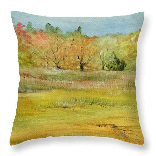Landscape Throw Pillow featuring the painting Maine Marsh by Jean Blackmer