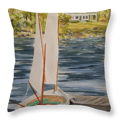 Boat Throw Pillow featuring the painting Maine Sail by Jackie Mueller-Jones