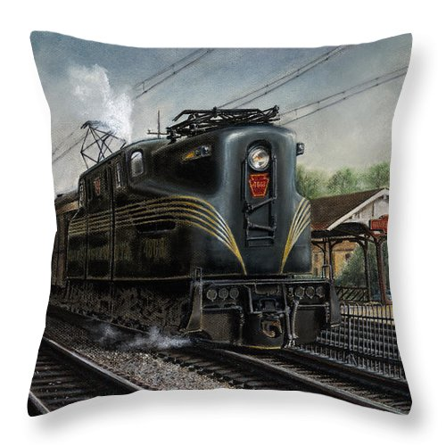 Trains Throw Pillow featuring the painting Mainline Memories by David Mittner