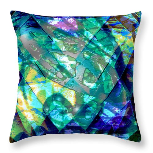 Abstract Throw Pillow featuring the digital art Mainspring Of Time by Seth Weaver