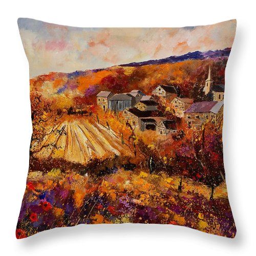 Poppies Throw Pillow featuring the painting Maissin by Pol Ledent