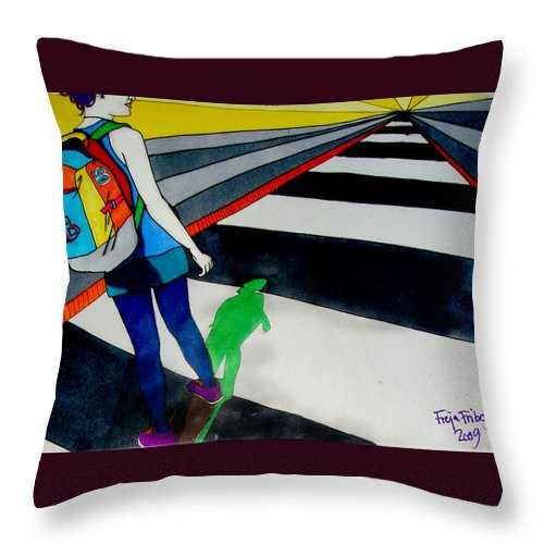 Skate Throw Pillow featuring the drawing Maja Skate by Freja Friborg