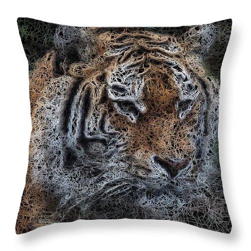 Bengal Tiger Throw Pillow featuring the digital art Majestic Bengal Tiger by Jon Bullman