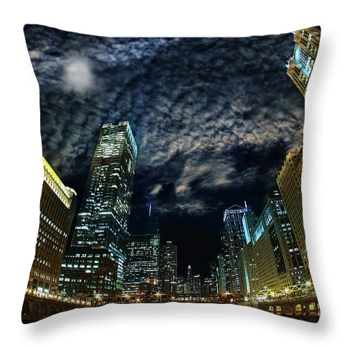 Lens Flare Throw Pillow featuring the photograph Majestic Chicago - Windy City Riverfront At Night by Bruno Passigatti