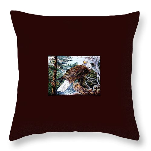 Pyrography Throw Pillow featuring the pyrography Majestic Eagle by Danette Smith