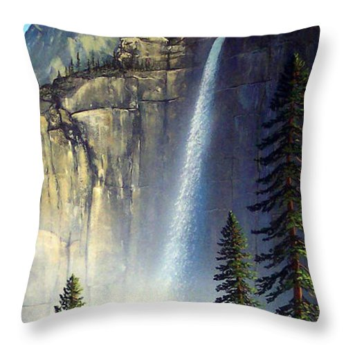 Landscape Throw Pillow featuring the painting Majestic Falls by Frank Wilson