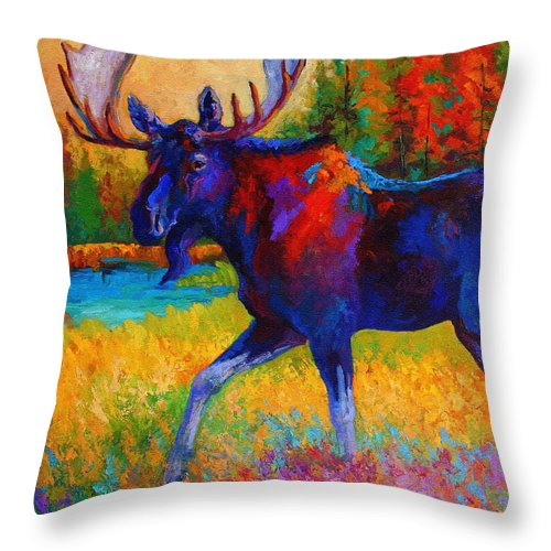 Moose Throw Pillow featuring the painting Majestic Monarch - Moose by Marion Rose