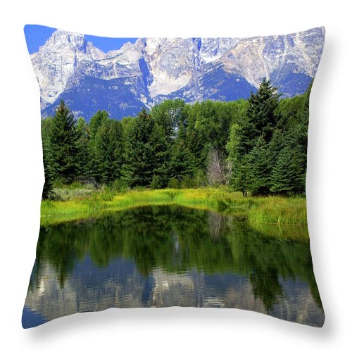 Grand Teton National Park Throw Pillow featuring the photograph Majestic Tetons by Marty Koch