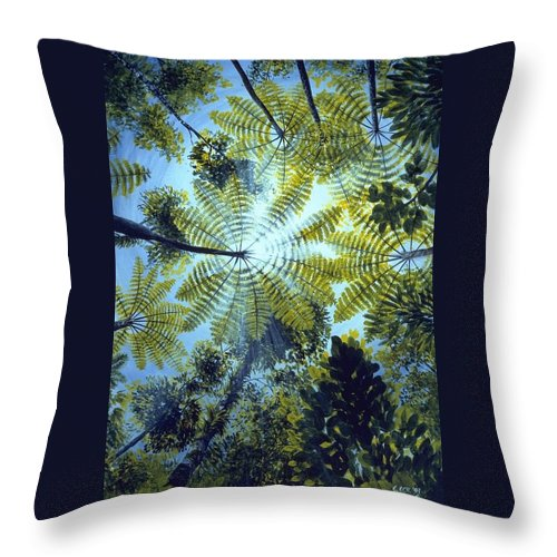 Chris Cox Throw Pillow featuring the painting Majestic Treeferns by Christopher Cox